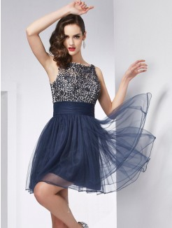 Sheath Bateau Sleeveless Beading Tulle Mini Dress