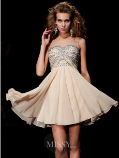 A-Line Scoop Sleeveless Beading Mini Chiffon Dress