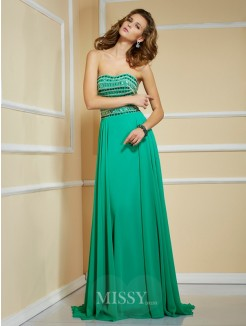 A-Line Rhinestone Strapless Sleeveless Sweep/Brush Train Chiffon Dress