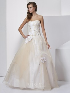 Ball Gown Hand-Made Flower Sweetheart Sleeveless Floor-length Tulle Dress