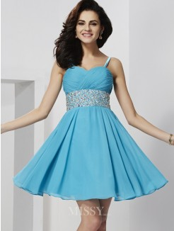 A-Line Sleeveless Mini Spaghetti Straps Rhinestone Chiffon Dress