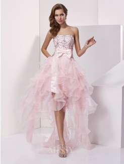 A-Line Organza Strapless Beading Asymmetrical Sleeveless Dress