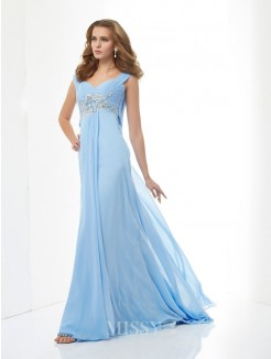 A-Line Sweetheart Straps Sleeveless Beading Chiffon Sweep/Brush Train Dress