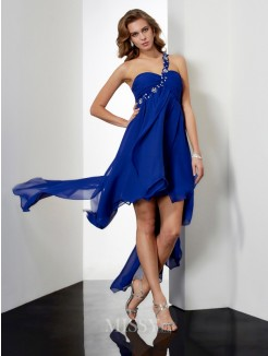 A-Line Asymmetrical One-Shoulder Chiffon Sleeveless Beading Dress