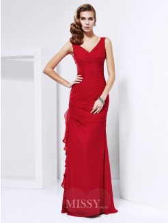 Sheath Chiffon Sleeveless Floor-Length V-neck Dress