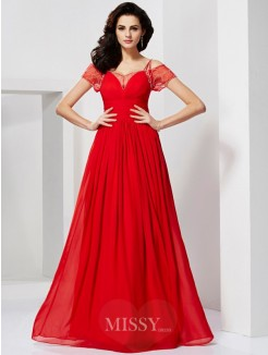 A-Line Spaghetti Straps Chiffon Floor-length Short Sleeves Dress