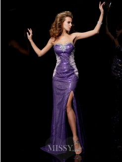 Sweetheart Sheath Sleeveless Elastic Woven Satin Sweep/Brush Train Dress