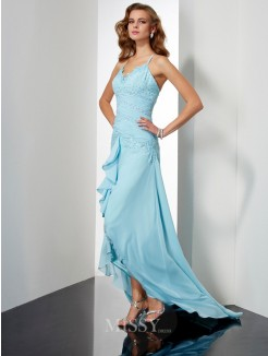 A-Line Sleeveless Spaghetti Straps Chiffon Beading Asymmetrical Dress