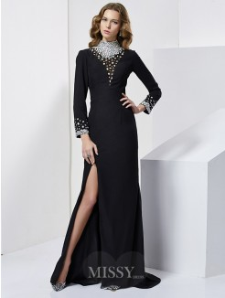 Sheath Long Sleeves High Neck Beading Sweep/Brush Train Chiffon Dress