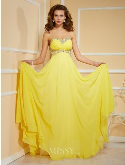 Sweetheart Sheath Rhinestone Sleeveless Floor-Length Chiffon Dress