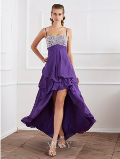 A-Line Sleeveless Spaghetti Straps Beading Floor-Length Chiffon Dress
