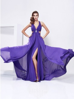 A-Line V-Neck Sleeveless Chiffon Sweep/Brush Train Dress