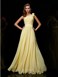 A-Line Chiffon One-Shoulder Bridesmaid Dress