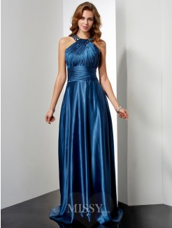 A-Line Elastic Woven Satin Sleeveless Halter Floor-Length Beading Dress