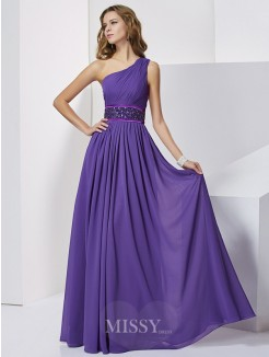 Empire Sleeveless One-Shoulder Beading Floor-Length Chiffon Dress
