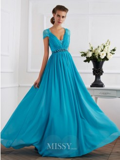 A-Line V-neck Short Sleeves Beading Chiffon Floor-Length Dress