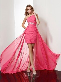 Sheath One-Shoulder Beading Sleeveless Chiffon Mini Dress