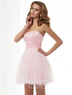 Sweetheart Sheath Sleeveless Beading Elastic Woven Satin Mini Dress