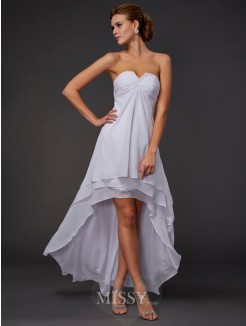 A-Line Asymmetrical Sweetheart Ruffles Sleeveless Chiffon Dress
