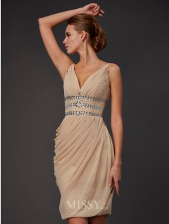 Sheath Sleeveless V-neck Beading Mini Chiffon Dress