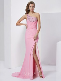 Sheath Beading Sleeveless One-Shoulder Sweep/Brush Train Chiffon Dress