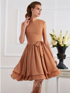 Sheath Chiffon High Neck Knee-Length Bridesmaid Dress