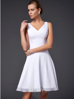 A-Line Sleeveless V-neck Chiffon Pleats Knee-Length Dress