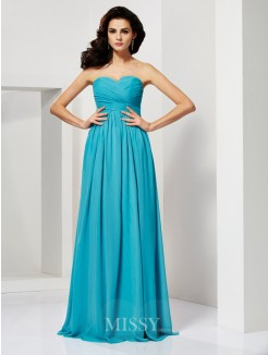 A-Line Sleeveless Sweetheart Pleats Floor-Length Chiffon Dress