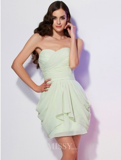 A-Line Sweetheart Sleeveless Mini Pleats Chiffon Dress