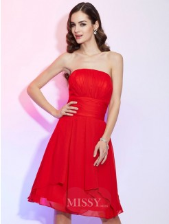 A-Line Strapless Sleeveless Pleats Chiffon Knee-Length Dress
