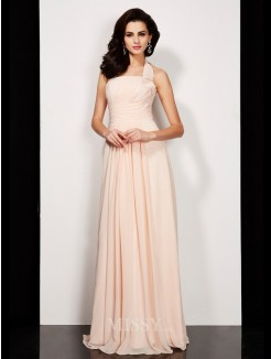 A-Line Sleeveless Pleats Halter Floor-Length Chiffon Dress