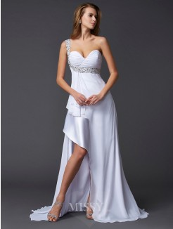 Beading A-Line Sleeveless One-Shoulder Sweep/Brush Train Chiffon Dress