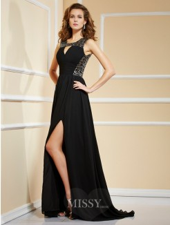 A-Line Chiffon Sleeveless High Neck Paillette Sweep/Brush Train Dress