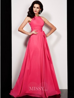 A-Line Floor-length High Neck Pleats Sash/Ribbon/Belt Chiffon Dress