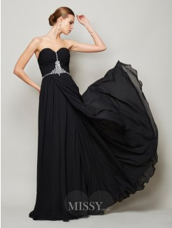 Beading A-Line Floor-Length Sweetheart Sleeveless Chiffon Dress