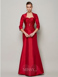 A-Line Sweetheart Beading Sleeveless Floor-Length Taffeta Dress