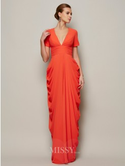 Sheath Short Sleeves V-neck Pleats Floor-length Chiffon Dress