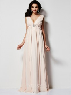 A-Line Sleeveless Pleats V-neck Floor-Length Chiffon Dress