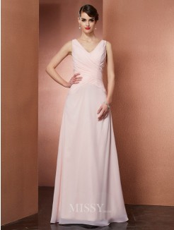 A-Line V-neck Pleats Sleeveless Chiffon Floor-Length Dress