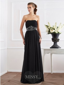 A-Line Strapless Sleeveless Beading Floor-Length Chiffon Dress
