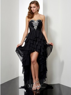 A-Line Sleeveless Beading Sweetheart Asymmetrical Chiffon Dress