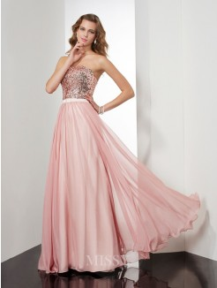 A-Line Sleeveless Strapless Paillette Floor-Length Chiffon Dress