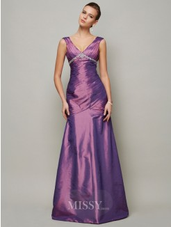Sheath Sleeveless V-neck Ruffles Floor-Length Taffeta Dress