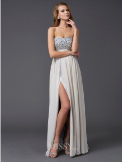 A-Line Ankle-length Sweetheart Beading Sleeveless Chiffon Dress