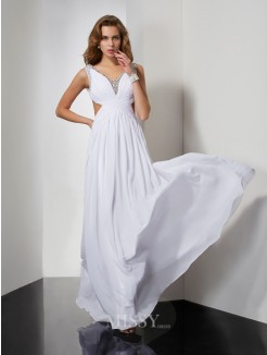 A-Line Sleeveless Straps Beading Floor-length Chiffon Dress