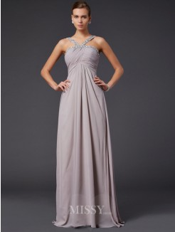 Sheath Sleeveless Beading Halter Sweep/Brush Train Chiffon Dress