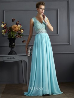 A-Line Sleeveless Straps Lace Floor-Length Chiffon Dress