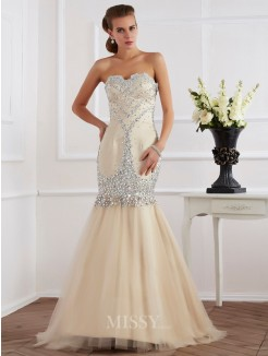 Sweetheart Sheath Sleeveless Beading Sweep/Brush Train Satin Dress