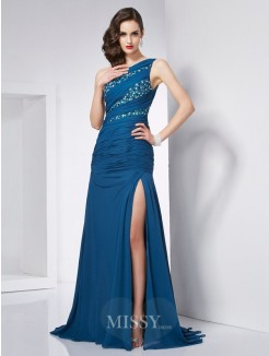 A-Line One-Shoulder Sleeveless Beading Chiffon Sweep/Brush Train Dress