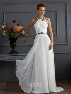 A-Line High Neck Sleeveless Beading Sweep/Brush Train Chiffon Dress